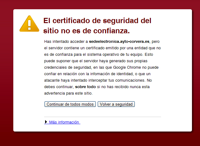 Gestionar exceptiones en Chrome